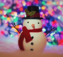 Christmas Snowman with Christmas Lights by carolynrauh