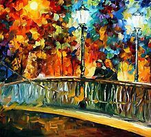 Date On The Bridge — Buy Now Link - www.etsy.com/listing/213806691 by Leonid  Afremov