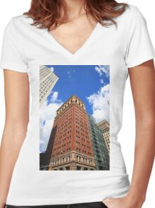 New York City Downtown Women's Fitted V-Neck T-Shirt