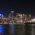 QE2 in Sydney Harbour @ Night by Gino Iori