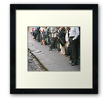 """The chorus line from the musical """"Waitin' for the Bus"""" Framed Print"""