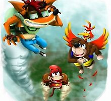Crash Bandicoot, Banjo Kazooie, & Diddy Kong by Oscar30694