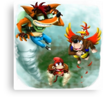 Crash Bandicoot, Banjo Kazooie, & Diddy Kong Canvas Print