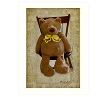 Storybook Teddy Bear with a Ribbon Art Print
