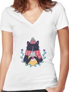 Winter cat Women's Fitted V-Neck T-Shirt