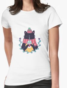 Winter cat Womens Fitted T-Shirt