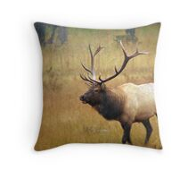 Bull Elk In An Autumn Storm Throw Pillow