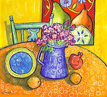yellow interior, pink roses and a pomegranate by genevievem