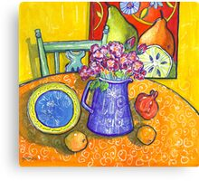 yellow interior, pink roses and a pomegranate Canvas Print
