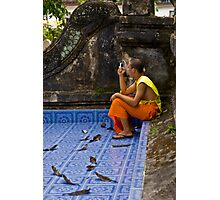 Young Buddhist Monk and his mobile phone  Photographic Print