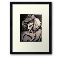 Life drawing  Charcoal ....Portrait of Isabel  Framed Print