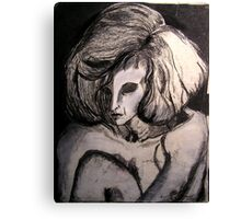 Life drawing  Charcoal ....Portrait of Isabel  Canvas Print