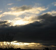 blue sky with sunset below by daantjedubbledutch