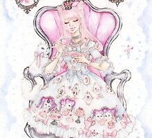 Cat's Tea Party Watercolor Painting by aini