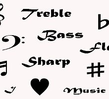 I ♥ Music (Style #2 - Black Writing) by C J Lewis