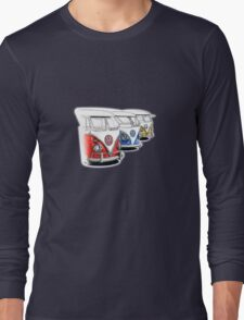 Type 2 Split Bus - Tres Amigos Signed Drawing Print Long Sleeve T-Shirt