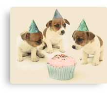 Vintage Puppy Birthday Card Canvas Print