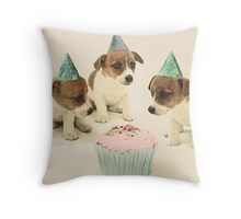 Vintage Puppy Birthday Card Throw Pillow