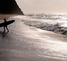 Silhouette of a surfer by Rae Threnoworth