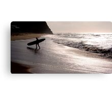 Silhouette of a surfer Canvas Print