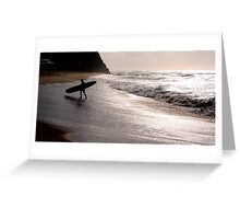 Silhouette of a surfer Greeting Card