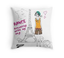 A girl visits France Throw Pillow