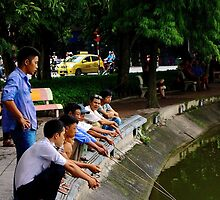 The Park Fishermen - Hanoi, Vietnam. by Tiffany Lenoir