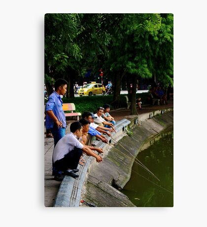 The Park Fishermen - Hanoi, Vietnam. Canvas Print