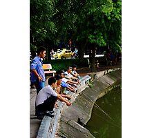 The Park Fishermen - Hanoi, Vietnam. Photographic Print