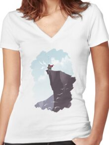 SUNRISE - Monster Yell Women's Fitted V-Neck T-Shirt
