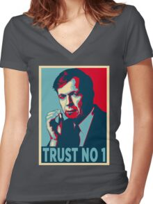 CIGARETTE SMOKING MAN TRUST NO 1 Women's Fitted V-Neck T-Shirt
