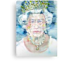 ELIZABETH II - watercolor portrait Canvas Print