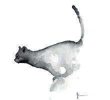 Cat art print watercolor painting, grumpy cat wall art by Joanna Szmerdt