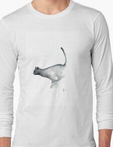 Cat art print watercolor painting, grumpy cat wall art Long Sleeve T-Shirt