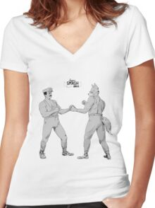 Old Timey Smash Bros Women's Fitted V-Neck T-Shirt