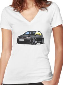 VW Golf (Mk7) GTi Black Women's Fitted V-Neck T-Shirt