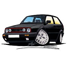 VW Golf GTi (Mk2) Black Photographic Print