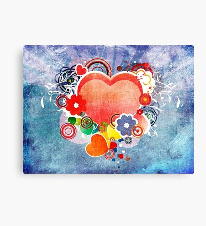 Grunge Valentines day card with hearts Canvas Print
