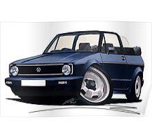 VW Golf (Mk1) Cabriolet Dark Blue Poster