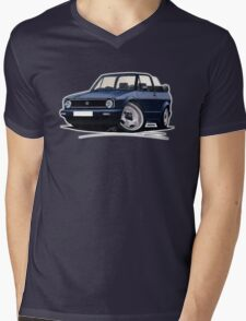 VW Golf (Mk1) Cabriolet Dark Blue Mens V-Neck T-Shirt