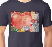 Grunge Valentines day card with hearts 2 Unisex T-Shirt