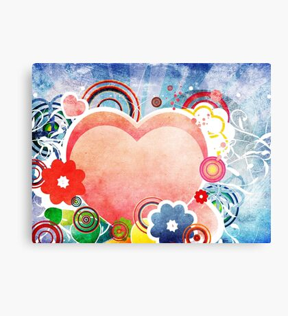 Grunge Valentines day card with hearts 5 Canvas Print