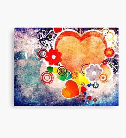 Grunge Valentines day card with hearts 6 Canvas Print