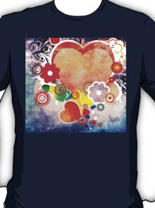 Grunge Valentines day card with hearts 6 T-Shirt