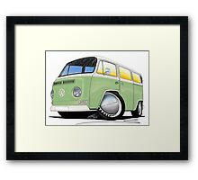 VW Bay Window Camper Van Light Green Framed Print
