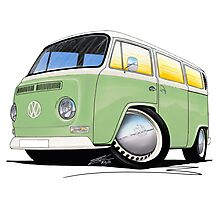 VW Bay Window Camper Van Light Green Photographic Print