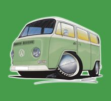 VW Bay Window Camper Van Light Green Kids Tee