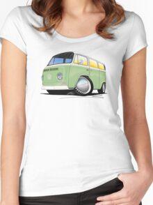 VW Bay Window Camper Van Light Green Women's Fitted Scoop T-Shirt