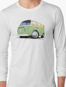 VW Bay Window Camper Van Light Green Long Sleeve T-Shirt