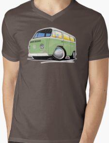VW Bay Window Camper Van Light Green Mens V-Neck T-Shirt